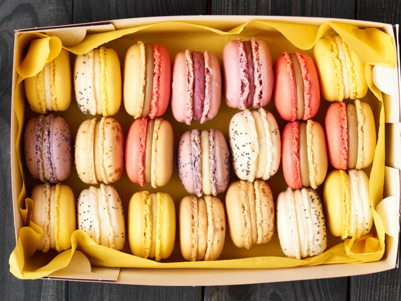 French delicious dessert macaroons in box