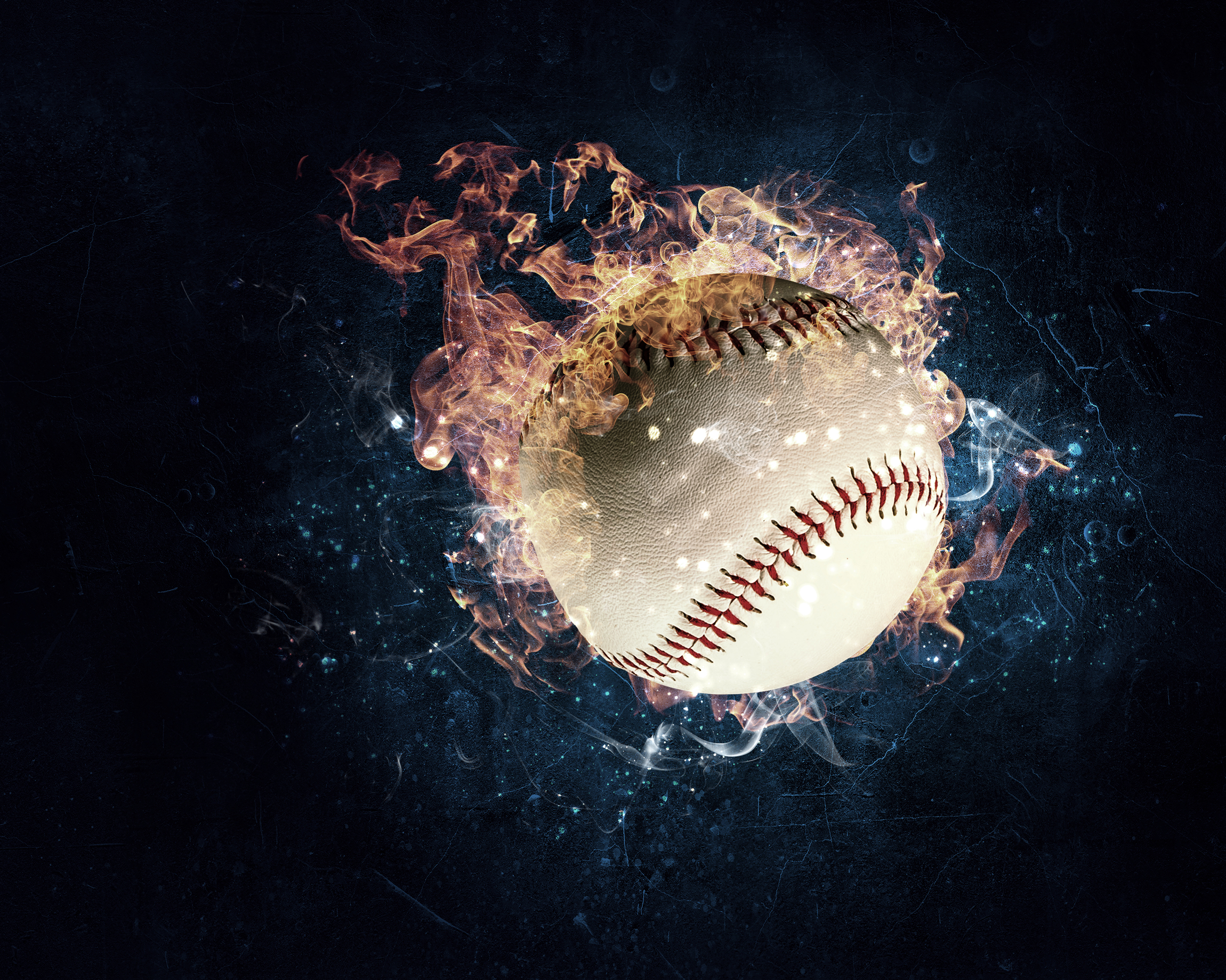 Baseball game concept with ball in fire flames. Mixed media