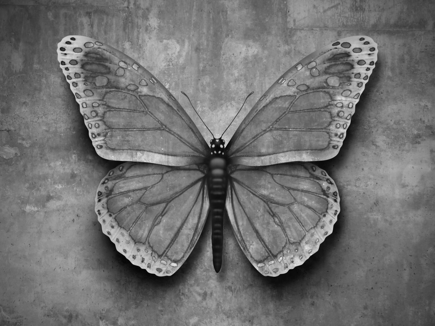 Blending in concept or conformig to surroundings and adapting to new environment as a butterfly on a wall with camouflage texture to hide from predators with 3D illusrtration elements.
